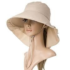 597292acec026 SIGGI Summer Bill Flap Cap UPF 50+ Cotton Sun Hat with Neck Cover Cord for  Women